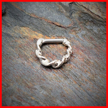 Septum Clicker Surgical Steel Ring Twisted 316L Surgical Steel 16G 14G Septum Ring Clicker