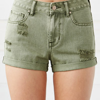 Bullhead Denim Co. Olive Ripped High Rise Cuffed Denim Shorts at PacSun.com