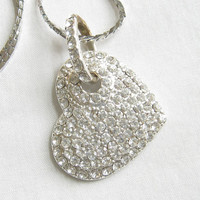 Vintage Clear Pave Rhinestones Heart Pendant Necklace