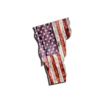 Vermont Distressed Tattered Subdued USA American Flag Vinyl Sticker