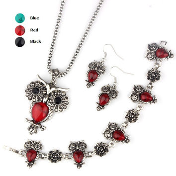 Fashion Owl Turquoise Jewelry Sets Women Vintage Silver Plated Black Red Stone