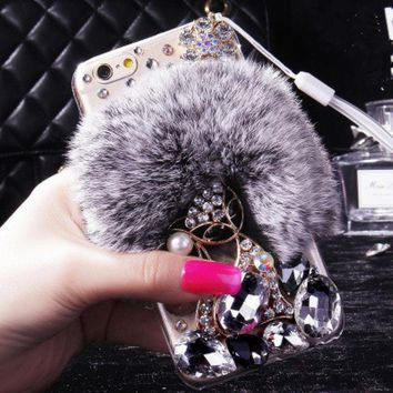 Luxury Bling Diamond Phone Case Real Rex Rabbit Fur Cover for iPhone 4 4s 5 5s SE 6 6s 7 8 Plus X XS Glitter Rhinestone Funda