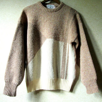 Wool Crewneck boyfriend pullover oversized sweater light brown tan cream ivory rustic woodsy vintage preppy ivy league unisex women men 40