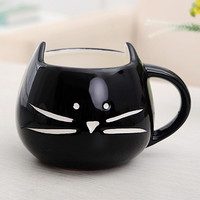 Best Selling Coffee Cup White Cat Animal Milk Cup Ceramic Lovers Mug Cute Birthday gift,Christmas Gift(Black)