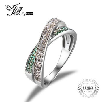 JewelryPalace Infinity Created Emerald Anniversary Wedding Band Ring 925 Sterling Silver 2016 New Fine Jewelry For Women