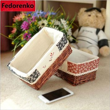 Willow Wicker Storage Baskets with Liner for Home Decoration wasmand rotan Cesto Ropa Wicker bread Picnic Basket rotan wasmanden