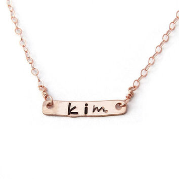 Handstamped Name Bar Necklace in Rose Gold, Petite Personalized Name Necklace, Best Friend Gift-Personalized PERFECT BAR Necklace