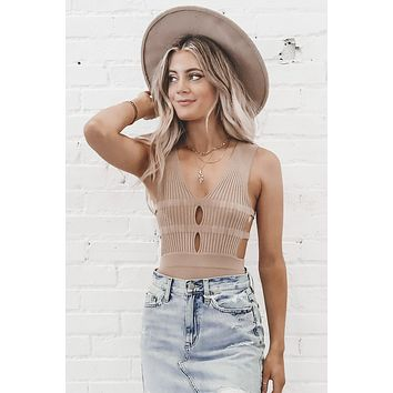 Lost And Found Double Keyhole Taupe Bodysuit