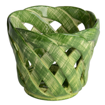 Intrecci Medium Green Cachepot