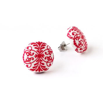 Tiny red earrings - red stud earrings - red button earrings - red fabric earrings - flowers white vintage look - gift for her