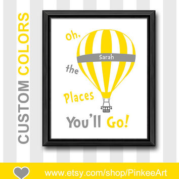 yellow gray dr seuss oh the places nursery personalised nursery room decor hot air balloon kid art playroom decor nursery wall art baby gift