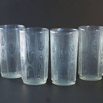Mid Century Anchor Hocking Wood Grain Tumblers, Vintage Tree Bark Pattern Juice Glasses, 1960s Barware