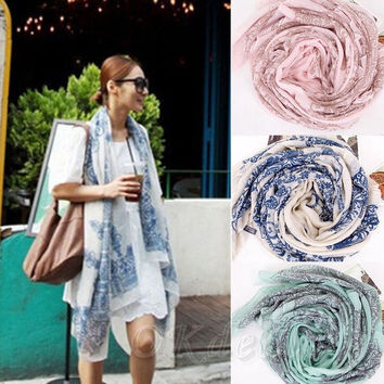 Fashion Casual Girl Spring Summer Fashion Women Long Print Scarf Wrap Ladies Shawl = 1958212740