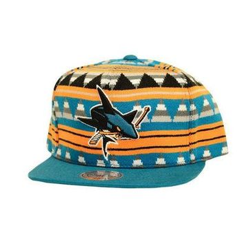 ONETOW Mitchell & Ness San Jose Sharks Mixtec Snapback In Multicolor