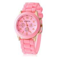 Pink Swiss Silicone Wrist Watch Highly Fashionable