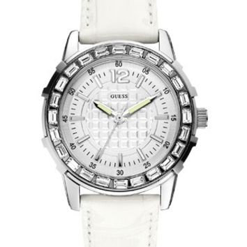 Guess Girly B Silver White Leather Watch - W0019L1