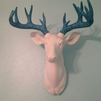 Glitter Deer Head Wall Mount With Blue Glitter Antlers