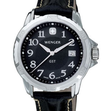 Wenger Mens GST Leather Strap Watch - Black Dial - Stainless Steel - Date