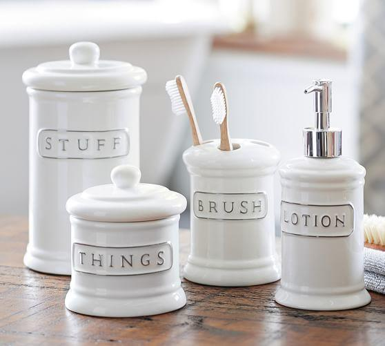 Ceramic Text Bath Accessories From Pottery Barn