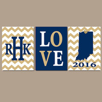 Notre Dame Chevron Custom Family College Monogram Initial State LOVE School University Gift Wedding Set of 3 Wall Art Canvas or Print