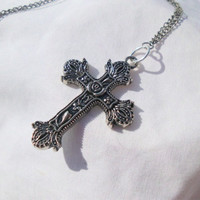 "Silver Ornate Cross Necklace ""Ruth"