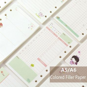 ICIK272 A5/A6 Cute Creative Colored Diario Binder Filler Paper Office School Stationery Planner Accessories Filler Paper For Filofax