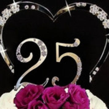 French Flower ~ Small Numbers Large Heart Anniversary Cake Topper Set