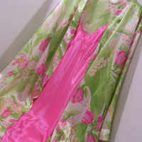 Peignoir Set  Robe Night Gown Set Cabernet Liquid Satin in Gorgeous Green And Hot Pink Summer Resort Cruise Wear Ready