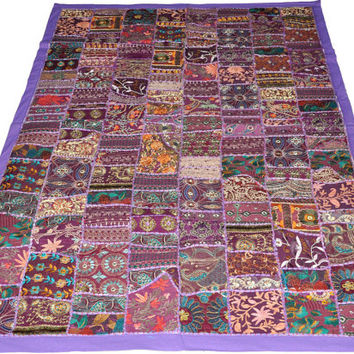 "60"" large hippie tapestry in Purple, indian wall hanging patchwork bohemian wall art Table runner, gypsy, tribal wall hanging tapestry decor"