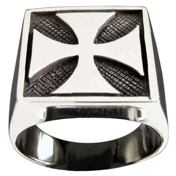Iron Cross Ring Motorradfahrer Kreuz Maltese Biker Cross in Sterling Silver 925