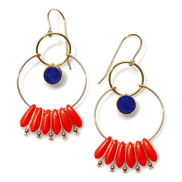 I. Ronni Kappos Orange & Blue Earrings