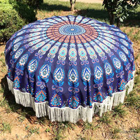 Large Cotton Blend Printed Round Beach Towel ~Tassel Circle Beach Towel Serviette Tapestry