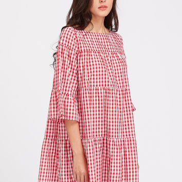 Red Plaid 3/4 Sleeve Gingham Tent Dress