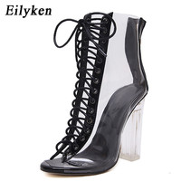 Eilyken Summer Sandals Sexy PVC Transparent Gladiator Sandals Cross Strappy Peep Toe Shoes Clear Chunky heels Women Ankle Boots