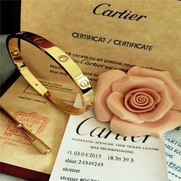 One-nice? Authentic Cartier 18K Love Yellow Gold Bracelet 4 Daimonds Size 19@@@