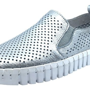 My Brooklyn Girl's Silver Leather Coney Island Sneaker