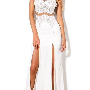 White Cami Lace Dress With Split And Cut Out Waist Front