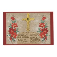 Gold Cross_Red Lilies_Xmas Lyrics - Monogrammed Placemat