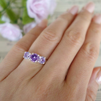 Purple Lovers - 2 Carat 3 Stone Engagement Ring, Man Made Diamond, Promise Ring, Wedding, Birthstone, Sterling Silver, 14k  Gold Option