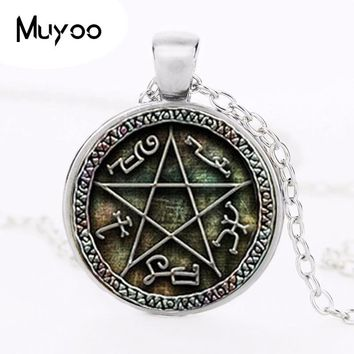 1pcs Supernatural Devils Trap pendant jewelry Glass Cabochon Necklace HZ1