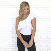 White One Shoulder Bodysuit