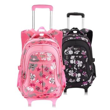 School Backpack For Girls With Wheels Trolley School Bags Wheel Kid Luggage Women Bag Pack