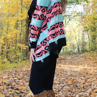 Mint, Pink, and Black Cardigan