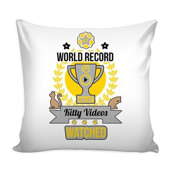 Funny Cat Graphic Pillow Cover World Record Most Kitty Videos Watched