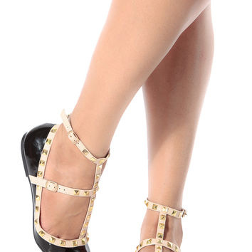 92ae54a9da5 Black Patent Studded Pointed Toe Flats from CICI HOT