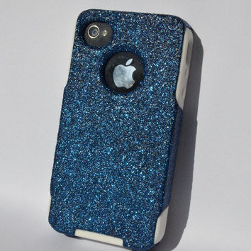 Custom iPhone 4 4s Glitter Otterbox Commuter Cute Case,  Custom  Glitter Blue Azurite / White Otterbox Color Cover for iPhone 4 4s