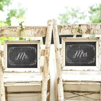Mr and Mrs Chalkboard Wedding Signs - Set of Two - Rustic Weddings - (PG-5)