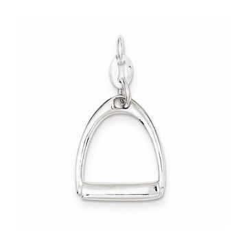 Sterling Silver Large Polished Horse Stirrup Charm