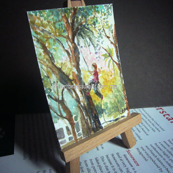 Tree Climbing original aceo painting, peinture, landscape id1360860, atc, not a print, wall art