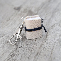 Mini book keychain, leather keychain, book charm, key fob book keychain, teacher librarian book lover, miniature leather journal - beige